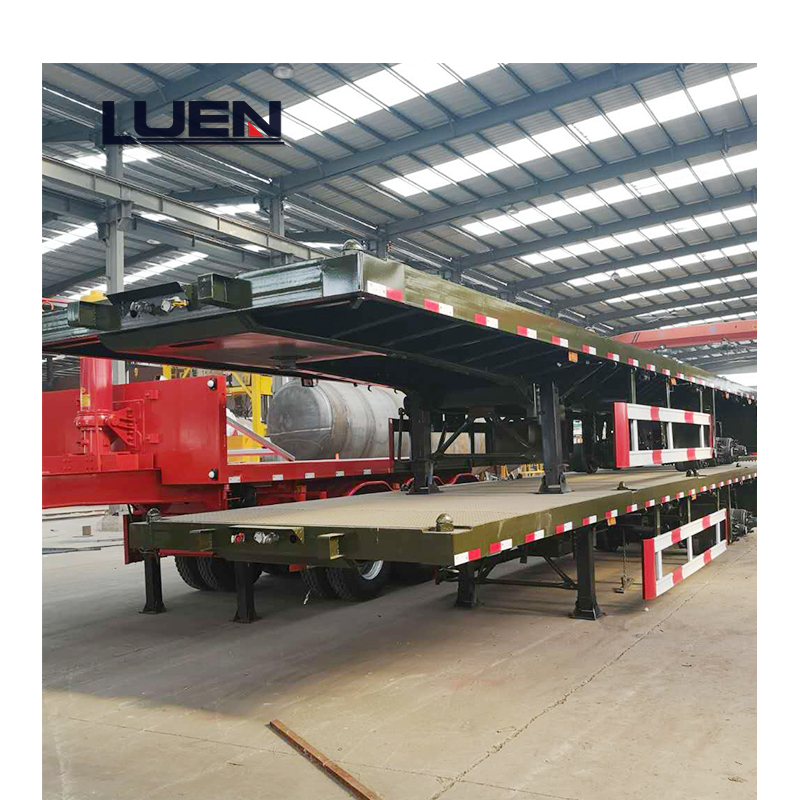 LUEN 3 Axle Flatbed Platform Container carrier Semi Trailer Truck