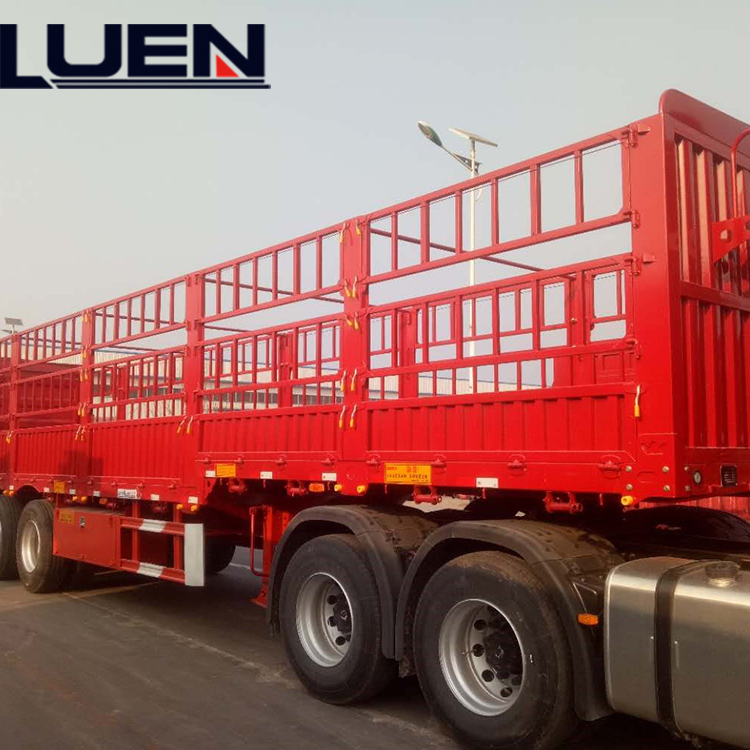 LUEN 3 Axles Fence Semi Trailer Truck For Transporting Products