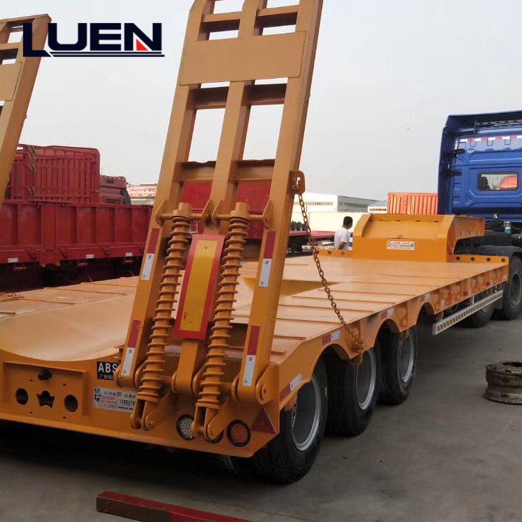 LUEN Heavy Tractor Semi Trailer 3 Axles 60 Ton Low Bed Trailer
